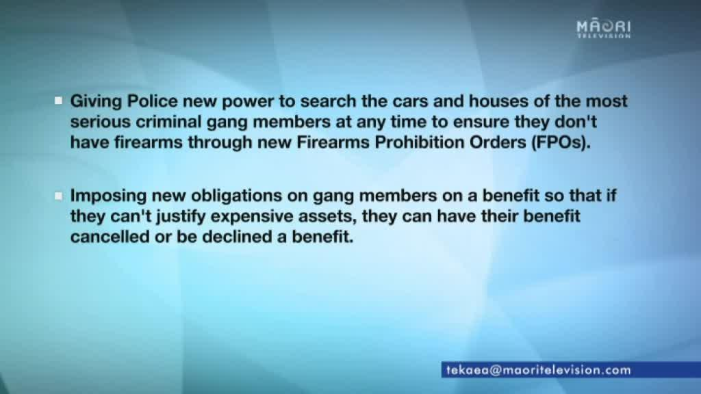 Video for Opposition to National's new drugs crackdown policy targeting gangs