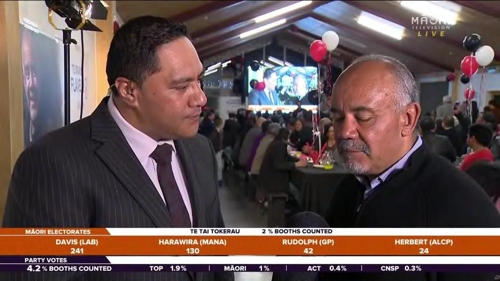 Video for Te Ururoa Flavell surrounded by whānau on election night