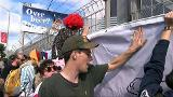 Video for Protesters blockade National Security Forum