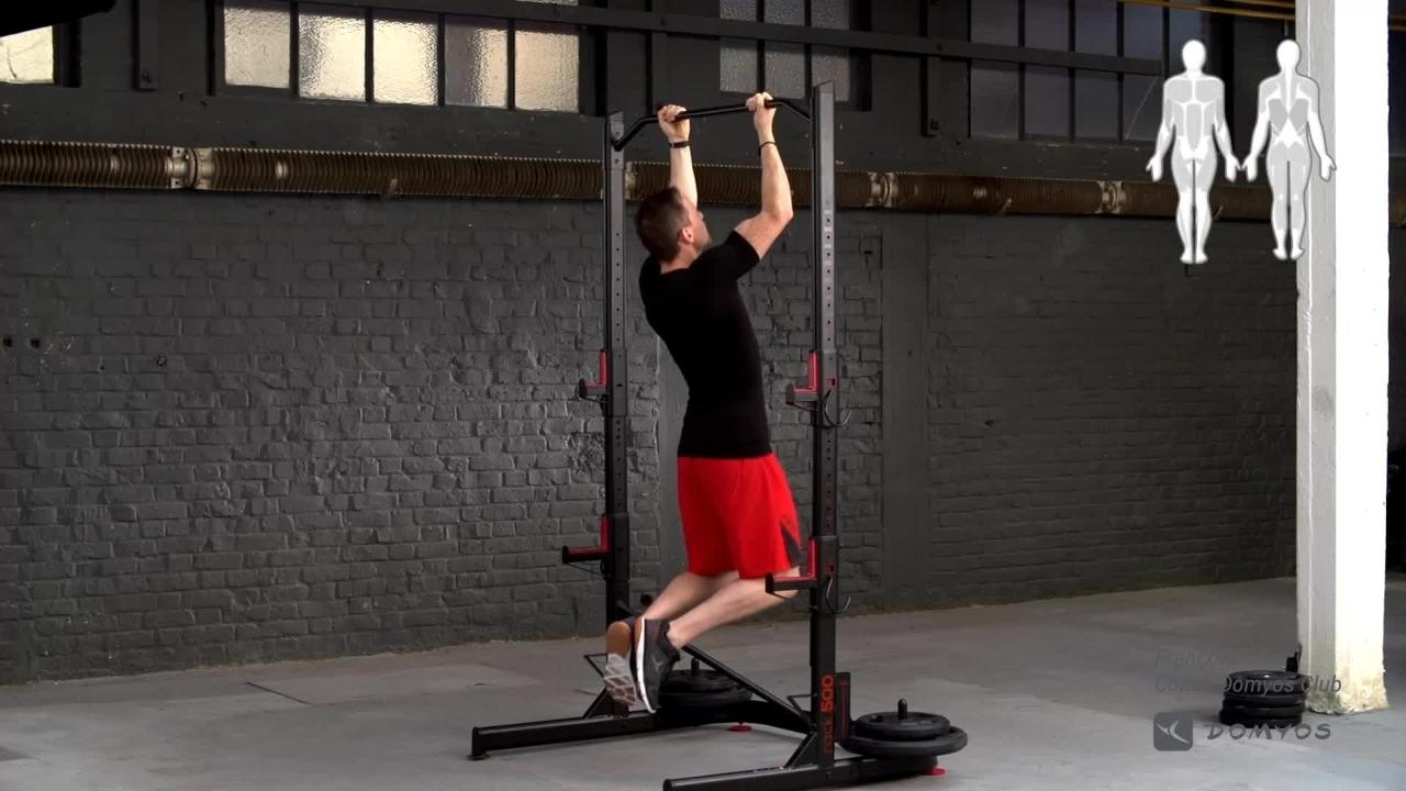 Exercice Rack Musculation Rack 500 Tractions Supination Domyos