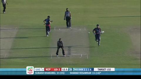 Nepal's Sharad Vesawkar, star performer, v UAE, 3rd place play-off, ICC WT20Q 2013