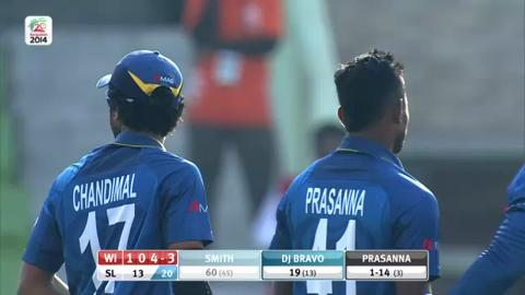 Warm-up: SL v WI - Dwayne Smith Wicket
