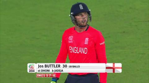 Warm-up: IND v ENG - Jos Buttler Wicket