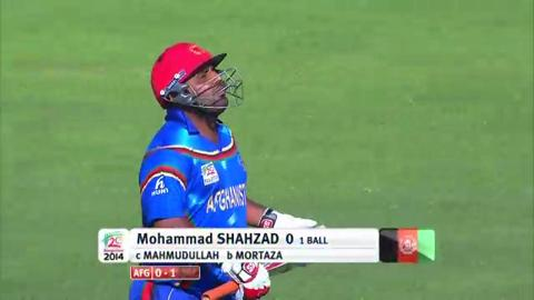 M1: Ban v Afg, Mohammad Shahzad wicket