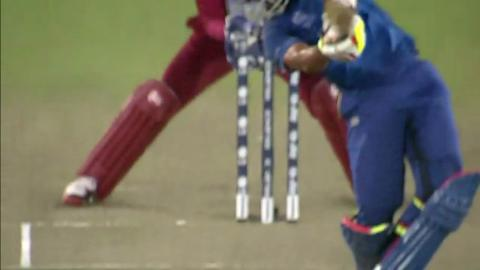 Warm-up: SL v WI - Dinesh Chandimal Wicket