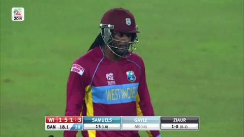 M20: BAN v WI - Chris Gayle Wicket