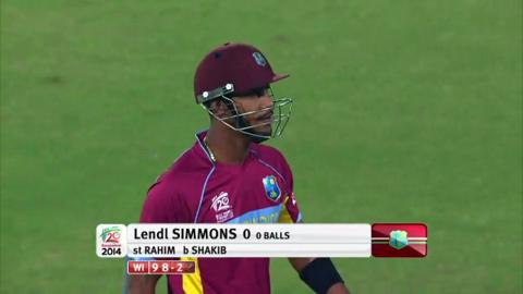 M20: BAN v WI - Lendl Simmons Wicket