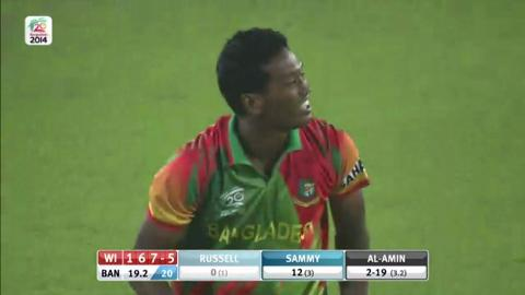M20: BAN v WI - Andre Russell Wicket