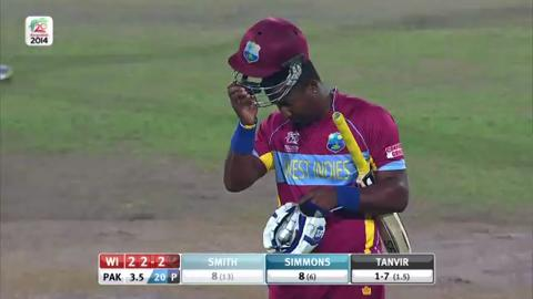 M32: WI v Pak - Dwayne Smith Wicket