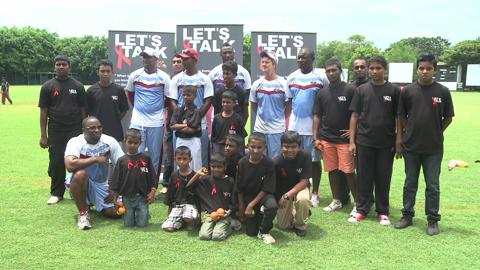 West Indies players at a community event