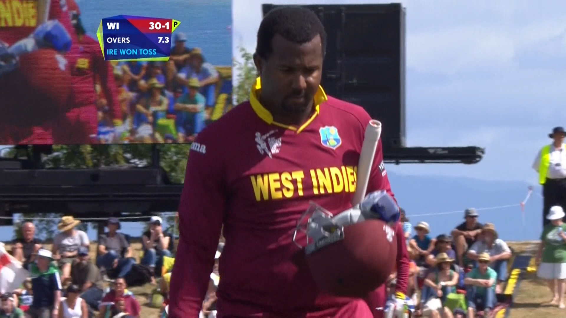 Dwayne Smith wicket – IRE vs WI