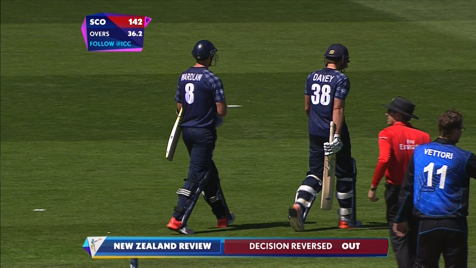Iain Wardlaw wicket – NZ vs SCO