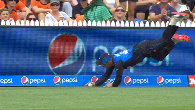 Brendon McCullum flies to try and save boundary