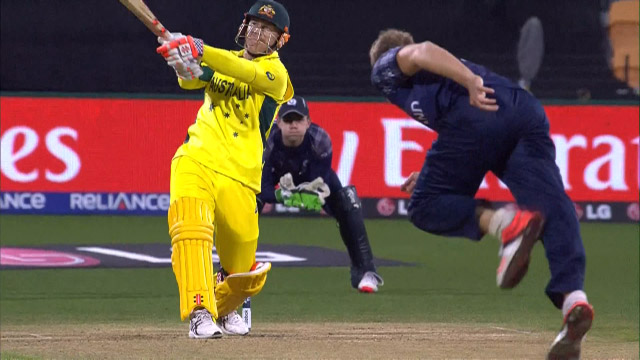 David Warner hits the biggest six of CWC15