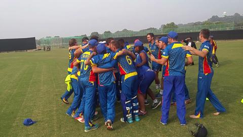 Namibia U19 celebrate win v South Africa U19