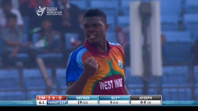 Alzarri Joseph bowls fastest ball of tournament – WI v ZIM