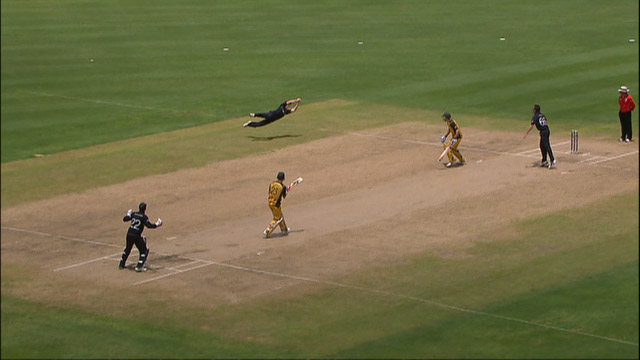 Collingwood pouches a stunning catch in the final to get England going