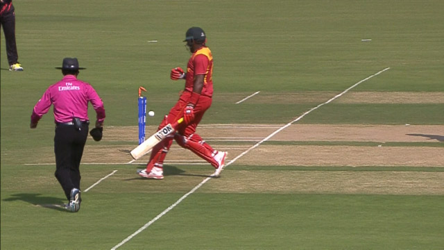 Hamilton Masakadza run out - Zim v HK, ICC World T20