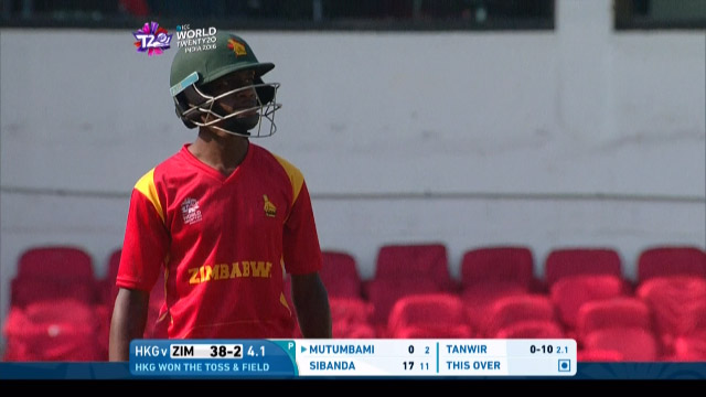 Richmond Mutumbami wicket - Zim v HK, ICC World T20