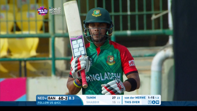 Sabbir Rahman Wicket Fall BAN V NET Video ICC WT20 2016
