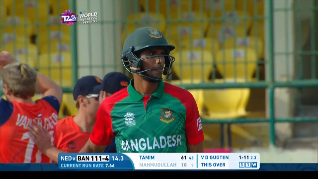 Mahmudullah Wicket Fall BAN V NET Video ICC WT20 2016