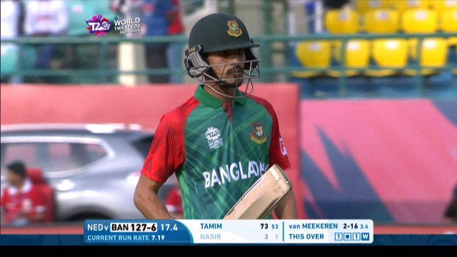Nasir Hossain Wicket Fall BAN V NET Video ICC WT20 2016