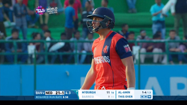 Wesley Barresi Wicket Fall NET V BAN Video ICC WT20 2016