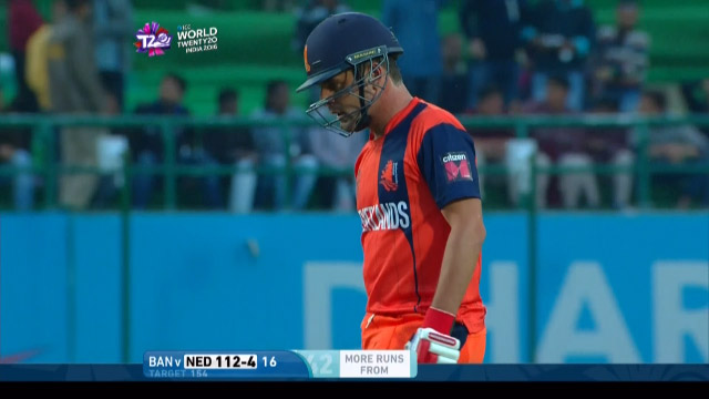 Peter Borren Wicket Fall NET V BAN Video ICC WT20 2016