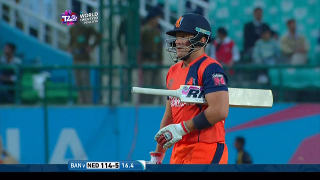 Roelof van der Merwe Wicket Fall NET V BAN Video ICC WT20 2016
