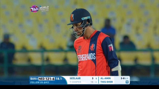 Tom Cooper Wicket Fall NET V BAN Video ICC WT20 2016