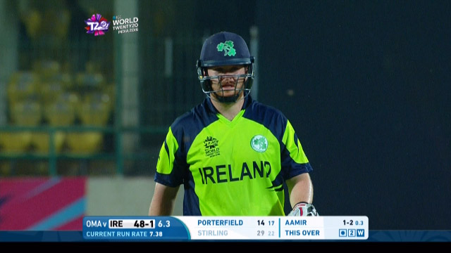 Paul Stirling Wicket Fall IRE V OMA Video ICC WT20 2016