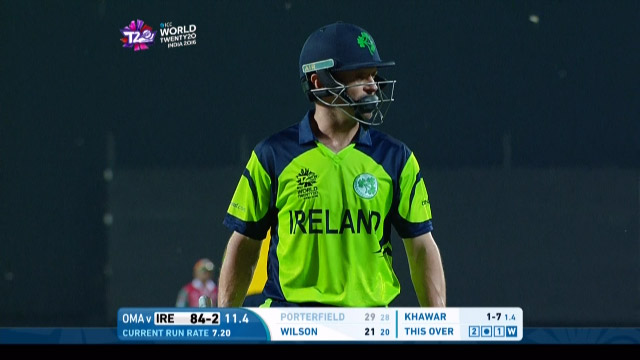 William Porterfield Wicket Fall IRE V OMA Video ICC WT20 2016
