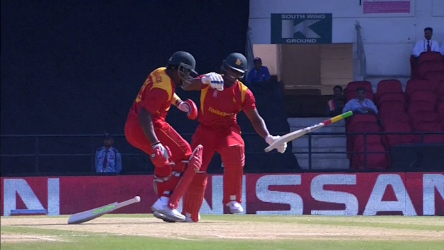 Sibanda and Masakadza collide to cost Zimbabwe wicket