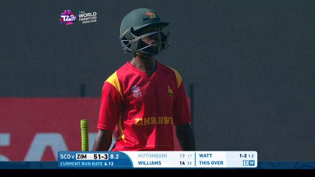 Richmond Mutumbami Wicket Fall ZIM V SCO Video ICC WT20 2016