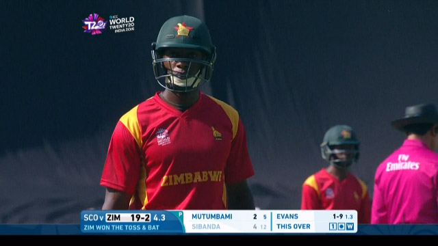 Vusi Sibanda Wicket Fall ZIM V SCO Video ICC WT20 2016