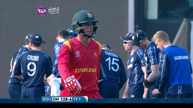 Sean Williams Wicket Fall ZIM V SCO Video ICC WT20 2016