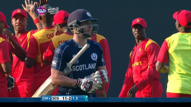 Matthew Cross Wicket Fall SCO V ZIM Video ICC WT20 2016