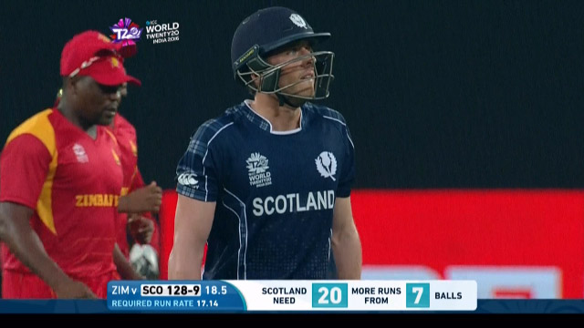 Josh Davey Wicket Fall SCO V ZIM Video ICC WT20 2016