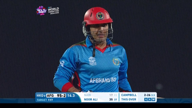 Mohammad Nabi Wicket Fall AFG V HK Video ICC WT20 2016