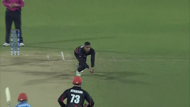 Shafiq caught and bowled in the most unusual manner!