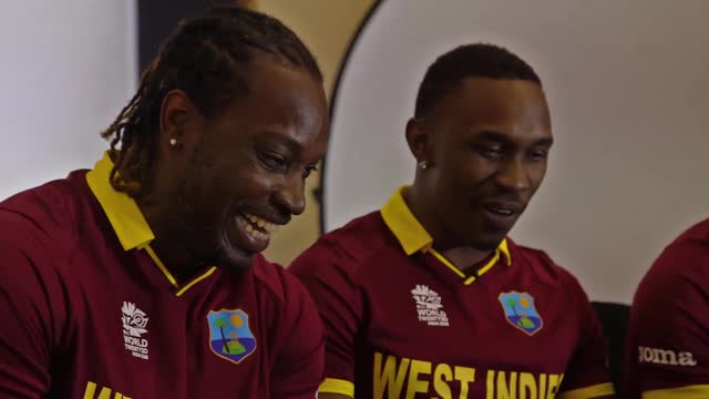 Bravo, Gayle and Russell laugh and joke ahead of the ICC World T20