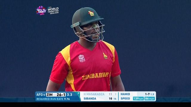 Hamilton Masakadza Wicket Fall ZIM V AFG Video ICC WT20 2016
