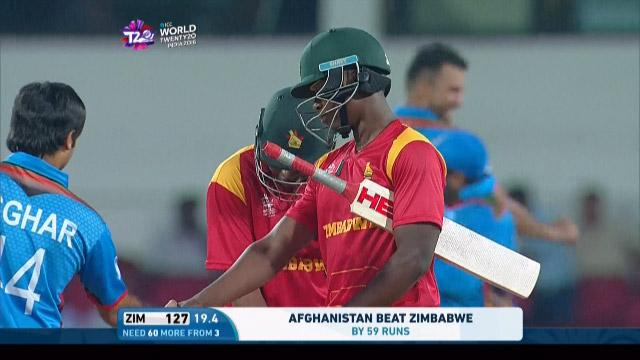 Tendai Chatara Wicket Fall ZIM V AFG Video ICC WT20 2016