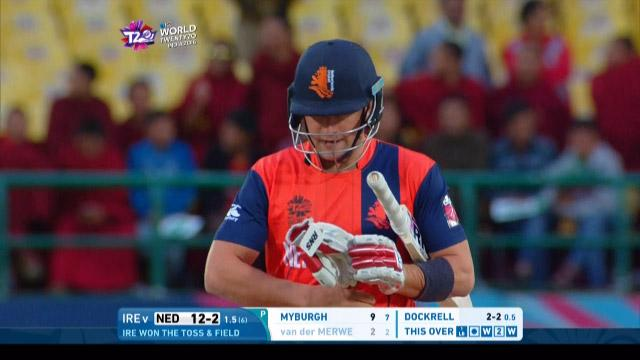 Roelof van der Merwe Wicket Fall NET V IRE Video ICC WT20 2016