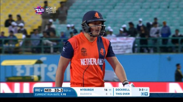 Wesley Barresi Wicket Fall NET V IRE Video ICC WT20 2016