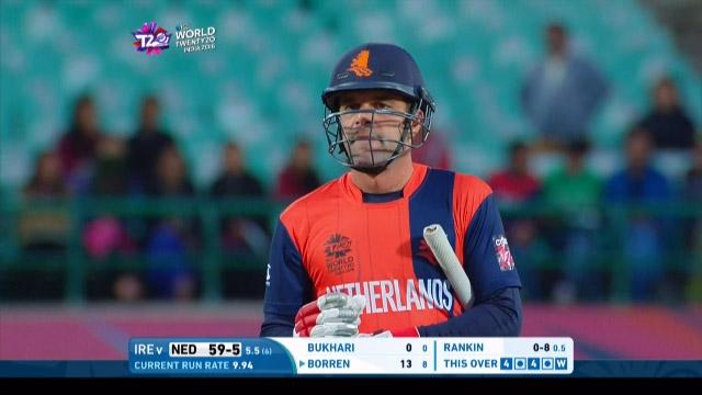 Peter Borren Wicket Fall NET V IRE Video ICC WT20 2016