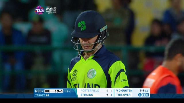 William Porterfield Wicket Fall IRE V NET Video ICC WT20 2016