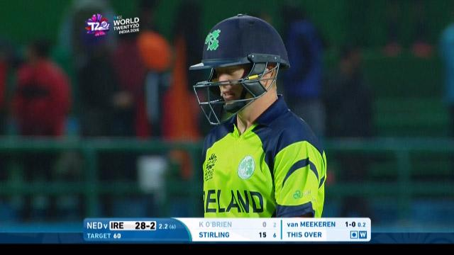 Kevin O'Brien Wicket Fall IRE V NET Video ICC WT20 2016