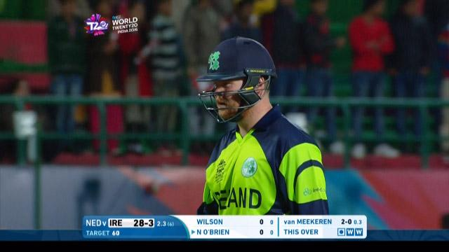 Paul Stirling Wicket Fall IRE V NET Video ICC WT20 2016
