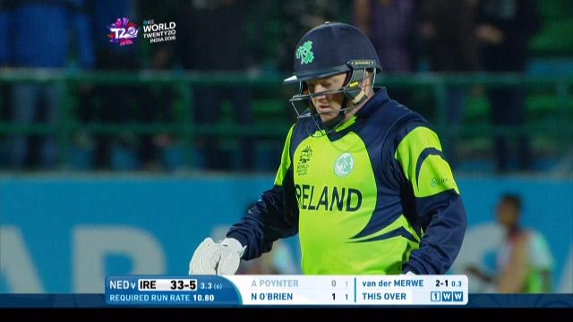 Andrew Poynter Wicket Fall IRE V NET Video ICC WT20 2016